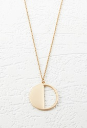 Forever 21 Cutout Circle Charm Necklace Matte Gold