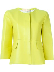 Marni Collarless Jacket Yellow And Orange