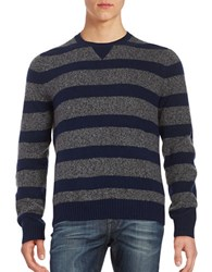 Brooks Brothers Striped Wool Blend Sweater Navy