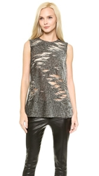 Kaufman Franco Sleeveless Sequin Top Smoke