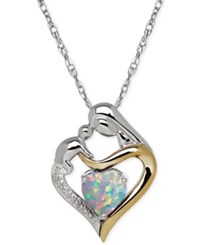 Macy's Opal 3 4 Ct. T.W. And Diamond Accent Mother And Child Pendant Necklace In Sterling Silver And 14K Gold