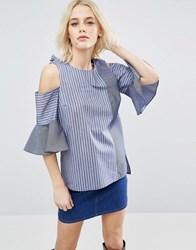 Asos Mix And Match Stripe Top With Cold Shoulder And Bow Back Multi