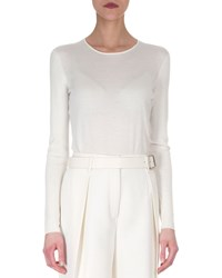 Akris Cashmere Blend Long Sleeve Top Women's Size 14 Off White