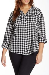 Sandra Ingrish Check Long Sleeve Shirt Plus Size Black