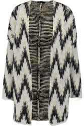 Maje Reversible Intarsia Knit Cardigan Off White