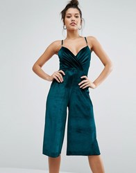 Missguided Velvet Culotte Jumpsuit Bottle Green