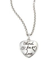 Gucci Blind For Love Sterling Silver Heart Pendant Necklace