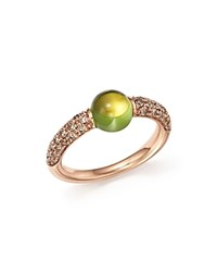 Pomellato M'ama Non M'ama Ring With Peridot And Brown Diamonds In 18K Rose Gold Green Rose