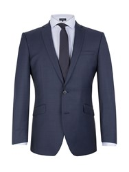 Racing Green Notch Collar Tailored Fit Suit Jacket Blue