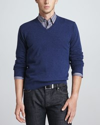 Neiman Marcus V Neck Cashmere Pullover Sweater Navy