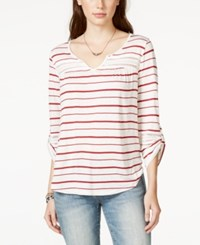 American Rag Striped Lace Trim Pullover Top Only At Macy's Biking Red