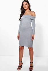 Boohoo Bardot Long Sleeve Bodycon Dress Grey