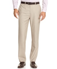 Calvin Klein Body Flat Front Sharkskin Slim Fit Dress Pants Tan