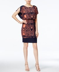 Sangria Animal Print Blouson Dress Navy Coral