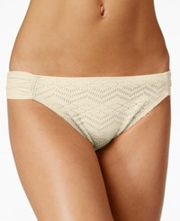 Hula Honey Crochet Hipster Bikini Bottoms Women's Swimsuit Cream
