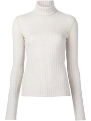 Paco Rabanne Ribbed Turtleneck Jumper Nude And Neutrals