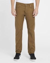 Carhartt Light Brown Klondike Huron Wash Tapered Fit Stretch Jeans Yellow
