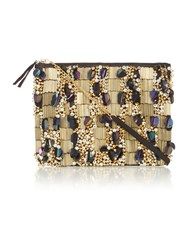Therapy Embellished Clutch Bag Gold