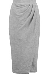Iris And Ink Amber Wrap Effect Ponte Midi Skirt Gray