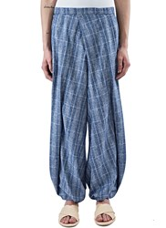 Aganovich Plaid Wide Pleated Balloon Pants Blue