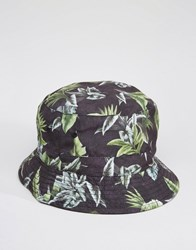 Asos Reversible Bucket Hat With Print Black
