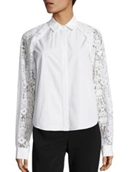Dkny Collared Lace Button Shirt White