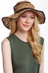 14Th And Union Striped Paper Crochet Floppy Hat Black
