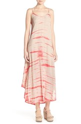 Women's Fraiche By J Tie Dye A Line Maxi Dress Taupe Coral