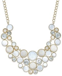 Inc International Concepts Gold Tone White Stone And Crystal Geometric Bib Necklace Only At Macy's