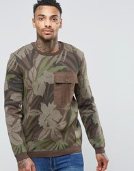 Asos All Over Floral Print Jumper With Contrast Pocket Green