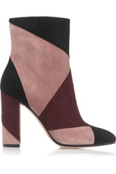 Gianvito Rossi Patchwork Suede Ankle Boots Burgundy