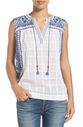 Women's Lucky Brand Embroidered Sleeveless Cotton Blouse
