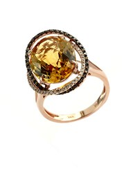 Effy Apricot Rose 14Kt. Rose Gold And Citrine Ring With Diamond Accents Citrine Rose Gold