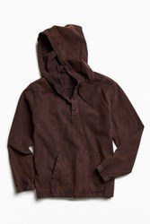 Urban Outfitters Uo Chamois Hooded Pullover Shirt Navy