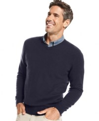 Club Room Big And Tall Cashmere V Neck Solid Sweater Midnight Blue