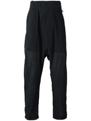Lost And Found Ria Dunn Folded Front Pinstripe Trousers Black