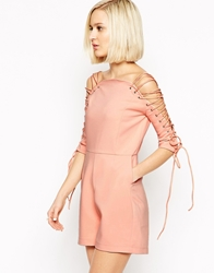 Lavish Alice Playsuit With Lace Up Sleeve Nude