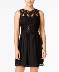 Trixxi Juniors' Lace Cutout Back A Line Dress Black