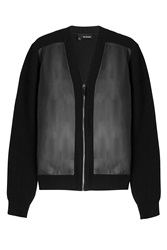 The Kooples Wool Cardigan With Leather Black