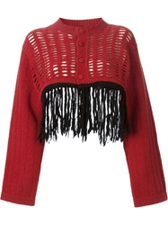 Jean Paul Gaultier Vintage Fringed Cropped Cardigan Yellow And Orange