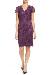 Ellen Tracy Women's Lace Sheath Dress Plum
