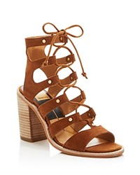 Dolce Vita Lyndon Gladiator Lace Up High Heel Sandals Dark Saddle