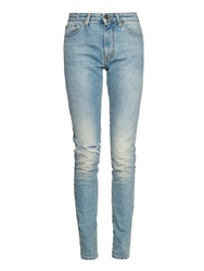 Saint Laurent High Rise Distressed Skinny Jeans