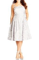 Plus Size Women's City Chic 'Lady' Jacquard Satin Fit And Flare Dress