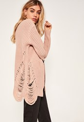 Missguided Distressed Slouchy Cardigan Pink Nude