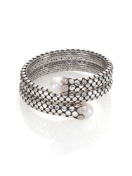 John Hardy Dot 11Mm White Pearl Diamond And Sterling Silver Double Coil Bracelet