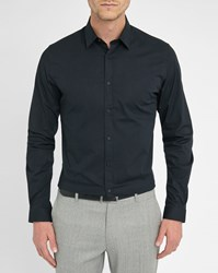 Ikks Navy Pleated Detail Collar Slim Fit Shirt