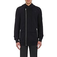 Alexander Mcqueen Men's French Terry Zip Front Hoodie Black Blue Black Blue