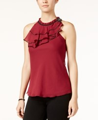 Amy Byer Bcx Juniors' Ruffled Blouse Red