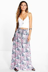 Boohoo Tropical Print Maxi Skirt Pink